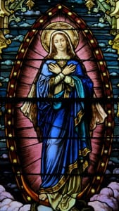 Saint_Mary_of_the_Assumption_Church_(Columbus,_Ohio)_-_stained_glass,_Mary_of_the_Immaculate_Conception,_detail
