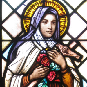 stained glass image of St. Thérèse