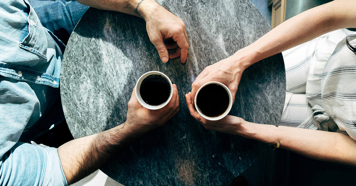 two people connecting over coffee