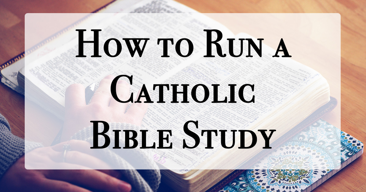 person reading a bible with text, How to Run a Catholic Bible Study